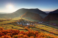 Autumn village in Slovakia countryside Royalty Free Stock Images