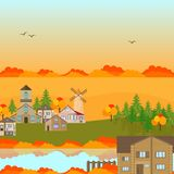Autumn village town Vector background Royalty Free Stock Photo