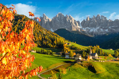 Autumn in the Villnoesstal in the Dolomites Stock Photo