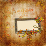 Autumn vintage background with frame Stock Photo
