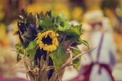 Autumn vintage dried bouquet with bright picturesque sunflower stock photo