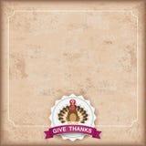 Autumn Vintage Emblem Thanksgiving Turkey Royalty Free Stock Photography