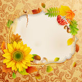 Autumn vintage greeting card. With colorful leaves and place for text. Vector illustration vector illustration