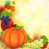 Autumn vintage greeting card on colorful leaves background. With pumpkin royalty free illustration