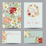Autumn Vintage Hortensia Flowers Save the Date Card for Wedding, Invitation, Party. In vector Stock Photo