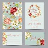 Autumn Vintage Hortensia Flowers Save datumkortet för att gifta sig, inbjudan, parti stock illustrationer