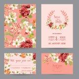Autumn Vintage Hortensia Flowers Save die Datums-Karte für die Heirat, Einladung, Partei Lizenzfreie Stockfotografie