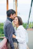 The autumn walk. Romantic young beautiful couple on autumn walk Stock Photo