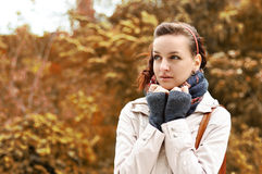 Autumn walk. Portrait of a beautiful girl on a background of yellow leaves Royalty Free Stock Photos