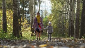 Autumn Walk av kvinnan och lilla flickan lager videofilmer