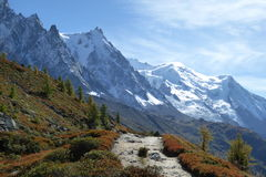 Autumn walk in the Chamonix mountains Royalty Free Stock Images