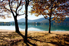 Autumn walk by the lake. Colorful autumn walk by the lake in Austria Royalty Free Stock Image