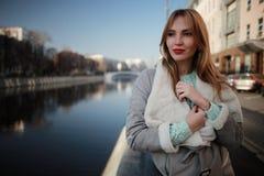 Autumn walk through Moscow. Girl autumn walk through Moscow Royalty Free Stock Images