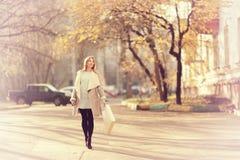 Autumn walk through Moscow. Girl autumn walk through Moscow Royalty Free Stock Photography