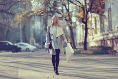 Autumn walk through Moscow. Girl autumn walk through Moscow Stock Photo