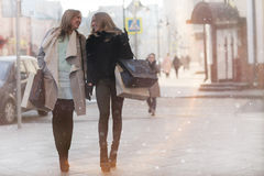 Autumn walk through Moscow. Girls autumn walk through Moscow Stock Images
