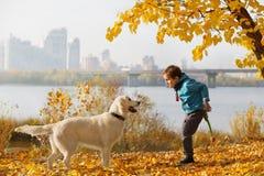 Autumn walk with pet Stock Photos