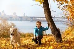 Autumn walk with pet Stock Image