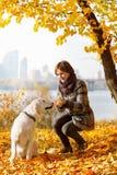 Autumn walk with pet Royalty Free Stock Photos