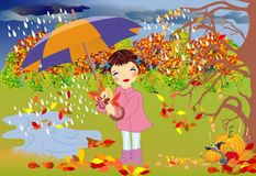 Autumn walk in the rain. Autumn impression with a girl that goes with umbrella Stock Image