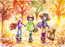 Autumn walk. Three happy girls and dog on the walk in park .Picture created with watercolors and colored pencils Royalty Free Stock Image