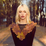 Autumn walking Beautiful Blond Woman Royalty Free Stock Image