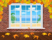 Autumn wall and summer window Royalty Free Stock Images