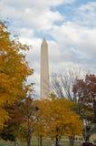 Autumn in Washington DC. A view of the Washington Monument through trees with autumn leaves Stock Photo