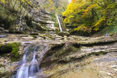 Autumn water fall Stock Photo