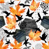 Autumn watercolor background: leaves, bird silhouettes, hexagons. Hand drawn falling leaf, flying birds, doodle, water color, scribble texture, seamless Royalty Free Stock Photography