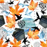 Autumn watercolor background: leaves, bird silhouettes, hexagons. Hand drawn falling leaf, flying birds, doodle, water color, scribble texture, seamless Royalty Free Stock Image