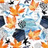 Autumn watercolor background: leaves, bird silhouettes, hexagons. Hand drawn falling leaf, flying birds, doodle, water color, scribble texture, seamless Royalty Free Stock Photos