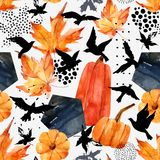 Autumn watercolor background: leaves, bird silhouettes, pumpkin, hexagons. Hand drawn falling leaf, flying birds, doodle, water color, scribble texture Royalty Free Stock Images