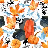 Autumn watercolor background: leaves, bird silhouettes, pumpkin, hexagons. Hand drawn falling leaf, flying birds, doodle, water color, scribble texture Royalty Free Stock Image
