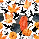 Autumn watercolor background: leaves, bird silhouettes, pumpkin, hexagons. Hand drawn falling leaf, flying birds, doodle, water color, scribble texture Royalty Free Stock Photography