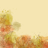 Autumn watercolor background with leaves Royalty Free Stock Photo