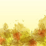 Autumn watercolor background with leaves Royalty Free Stock Image