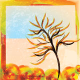 Autumn watercolor background with tree bright colors Royalty Free Stock Photography