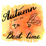 Autumn watercolor banner with hand lettering Royalty Free Stock Images