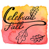 Autumn watercolor banner with hand lettering Royalty Free Stock Photography