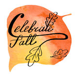 Autumn watercolor banner with hand lettering Stock Images