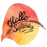 Autumn watercolor banner with hand lettering Stock Image