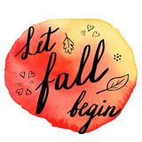 Autumn watercolor banner with hand lettering Stock Photography