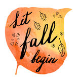 Autumn watercolor banner with hand lettering Stock Photos