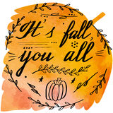 Autumn watercolor banner with hand lettering Royalty Free Stock Image