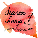 Autumn watercolor banner with hand lettering Royalty Free Stock Photos