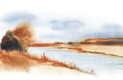 Autumn watercolor blurry landscape. Daytime view of faded fall nature. Brown bank of slow river with stunted vegetation and dim