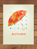 Autumn watercolor card. Background with hand drawn Umbrella and rain drops. Sketch, design elements. Vector illustration. Stock Photos