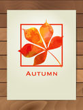 Autumn watercolor chestnut leaf in a square frame. Background with hand drawn autumn leaves. Sketch, design elements. Vector illus Royalty Free Stock Photo