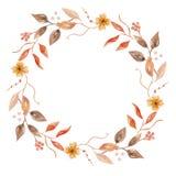 Autumn Watercolor Fall Flower Hand ha dipinto Garland Floral Wreath Fotografia Stock Libera da Diritti